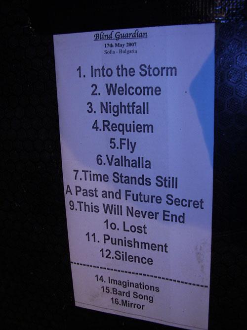 BG setlist