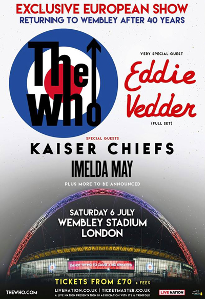 IMELDA MAY to open the THE WHO's massive Wembley Stadium show